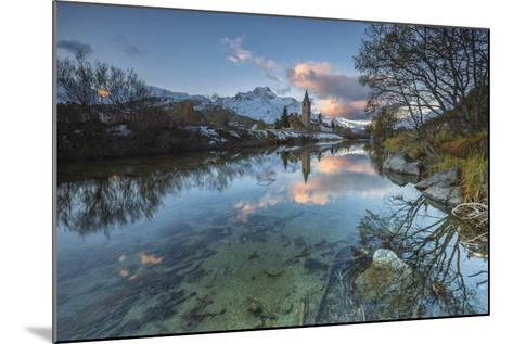 Dawn Illuminates Snowy Peaks and Bell Tower Reflected in Lake Sils, Switzerland-Roberto Moiola-Mounted Photographic Print