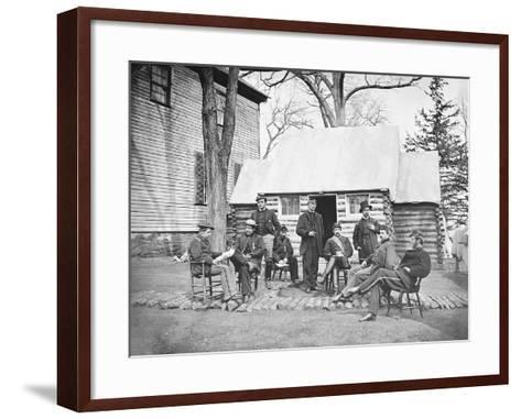Officers at Headquarters of 6th Army Corps During the American Civil War-Stocktrek Images-Framed Art Print