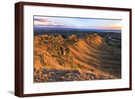 Te Mata Peak at Sunrise, Hastings Near Napier, Hawkes Bay Region, North Island, New Zealand-Matthew Williams-Ellis-Framed Art Print