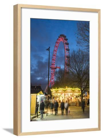 Christmas Market in Jubilee Gardens, with the London Eye at Night, South Bank, London, England-Matthew Williams-Ellis-Framed Art Print