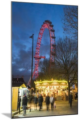 Christmas Market in Jubilee Gardens, with the London Eye at Night, South Bank, London, England-Matthew Williams-Ellis-Mounted Photographic Print