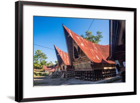 Traditional Batak House in Lake Toba, Sumatra, Indonesia, Southeast Asia-John Alexander-Framed Art Print