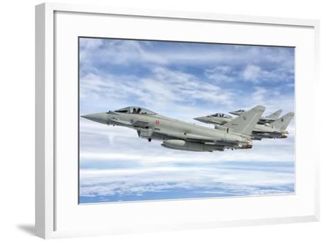 Italian Air Force F-2000 Typhoon Aircraft Fly in Formation-Stocktrek Images-Framed Art Print