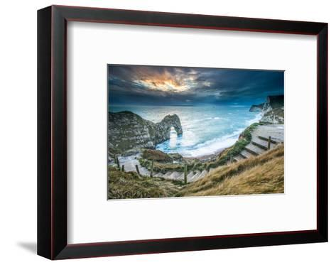 A Winter Sunset at Durdle Door on the Jurassic Coast, Dorset, England, United Kingdom, Europe-John Alexander-Framed Art Print