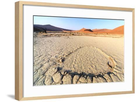Parched Ground and Dead Acacia Surrounded by Sandy Dunes, Sossusvlei, Namib Naukluft National Park-Roberto Moiola-Framed Art Print