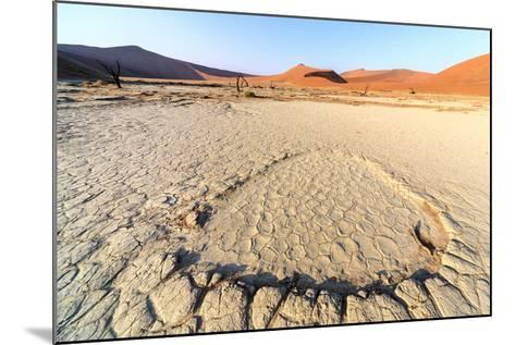 Parched Ground and Dead Acacia Surrounded by Sandy Dunes, Sossusvlei, Namib Naukluft National Park-Roberto Moiola-Mounted Photographic Print