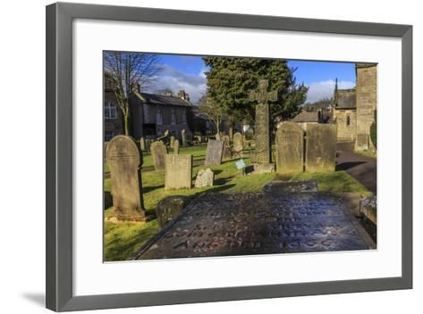 Saxon Cross and Plague Victim's Table Tomb (Catherine Mompesson), Derbyshire-Eleanor Scriven-Framed Art Print