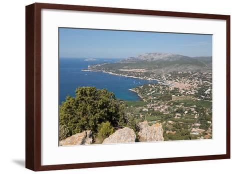 View of the Coastline and the Historic Town of Cassis from a Hilltop, France-Martin Child-Framed Art Print