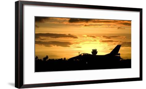 Sunset Landing This Chilean Air Force F-16 Fighting Falcon-Stocktrek Images-Framed Art Print