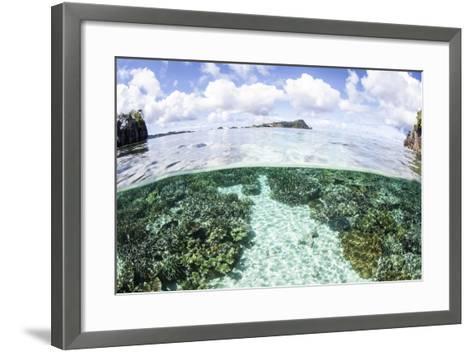 A Beautiful Coral Reef Grows Near a Set of Limestone Islands-Stocktrek Images-Framed Art Print
