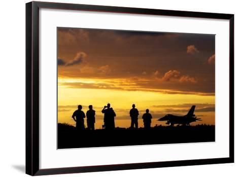 A Chilean Air Force F-16 Aircraft Landing at Sunset-Stocktrek Images-Framed Art Print