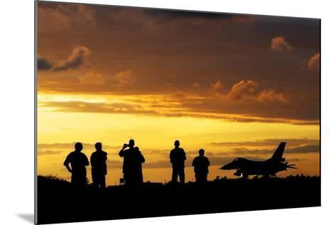 A Chilean Air Force F-16 Aircraft Landing at Sunset-Stocktrek Images-Mounted Photographic Print