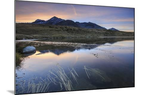 Pink Sky on Peak Emet Reflected in Lake Andossi at Dawn, Italy-Roberto Moiola-Mounted Photographic Print