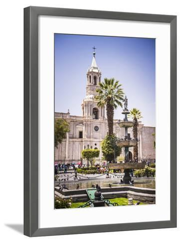 Plaza De Armas Fountain and Basilica Cathedral of Arequipa, Arequipa, Peru, South America-Matthew Williams-Ellis-Framed Art Print