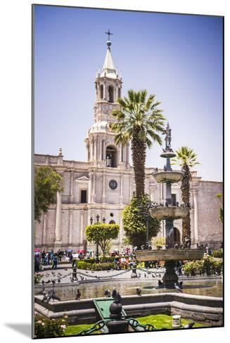 Plaza De Armas Fountain and Basilica Cathedral of Arequipa, Arequipa, Peru, South America-Matthew Williams-Ellis-Mounted Photographic Print