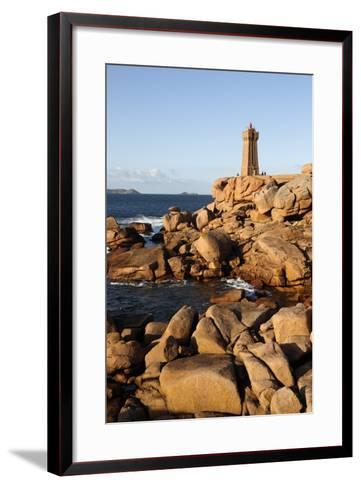 Lighthouse and Pink Rocks at Sunset, Cote De Granit Rose-Stuart Black-Framed Art Print