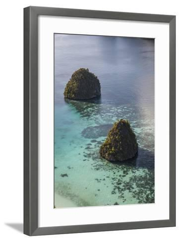 Limestone Islands Surrounded by a Coral Reef in Raja Ampat-Stocktrek Images-Framed Art Print