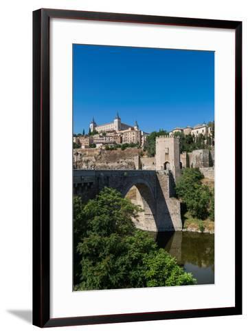 Bridge over the River Tagus with the Alcazar of Toledo Above, Toledo, Castilla La Mancha, Spain-Martin Child-Framed Art Print