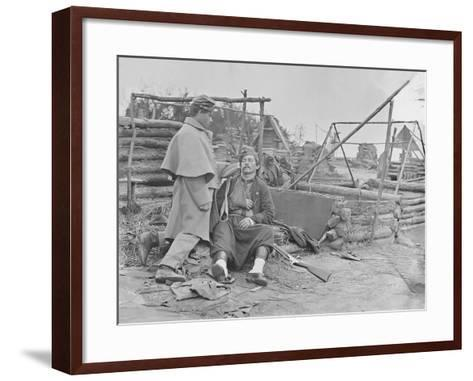 American Civil War Scene of a Deserted Camp and Wounded Zouave Soldier-Stocktrek Images-Framed Art Print