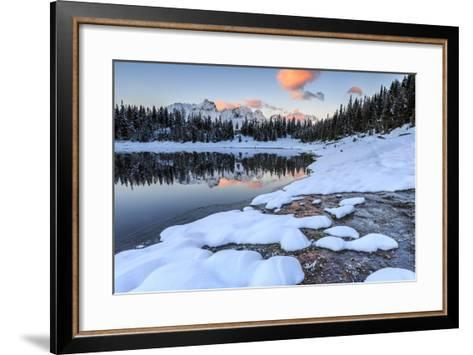 Woods and Snowy Peaks are Reflected in Lake Palu at Sunrise, Malenco Valley, Valtellina, Italy-Roberto Moiola-Framed Art Print