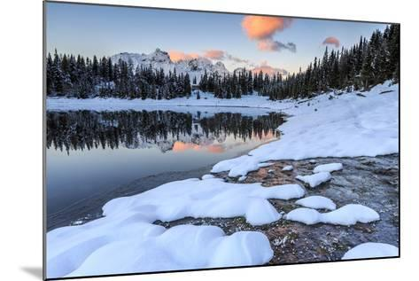 Woods and Snowy Peaks are Reflected in Lake Palu at Sunrise, Malenco Valley, Valtellina, Italy-Roberto Moiola-Mounted Photographic Print