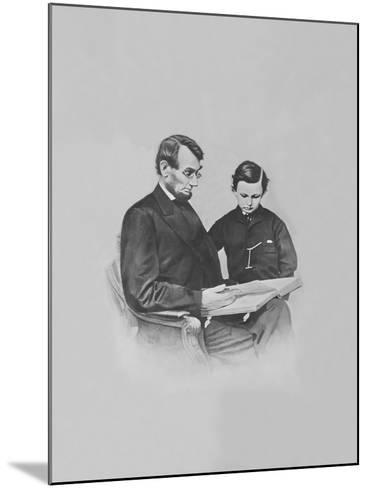 President Abraham Lincoln and His Son Tad Lincoln Looking at a Book-Stocktrek Images-Mounted Photographic Print