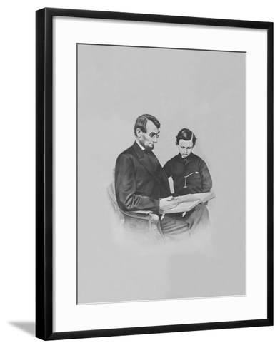 President Abraham Lincoln and His Son Tad Lincoln Looking at a Book-Stocktrek Images-Framed Art Print