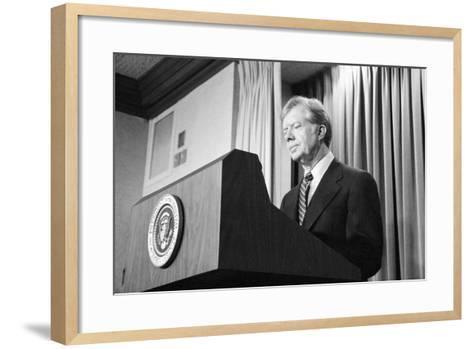 President Jimmy Carter Speaking During the Iran Hostage Crisis-Stocktrek Images-Framed Art Print