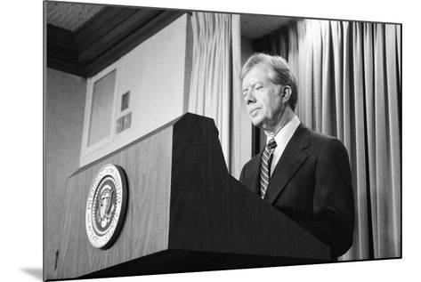 President Jimmy Carter Speaking During the Iran Hostage Crisis-Stocktrek Images-Mounted Photographic Print
