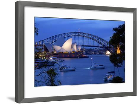 Opera House and Harbour Bridge from Mrs Macquarie's Chair at Dusk, Oceania-Frank Fell-Framed Art Print