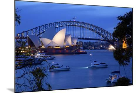Opera House and Harbour Bridge from Mrs Macquarie's Chair at Dusk, Oceania-Frank Fell-Mounted Photographic Print