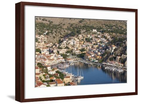 View over the Colourful Harbour, Dodecanese Islands-Ruth Tomlinson-Framed Art Print