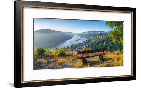 Germany, Rhineland Palatinate, Bacharach and Burg Stahleck (Stahleck Castle), River Rhine-Alan Copson-Framed Art Print