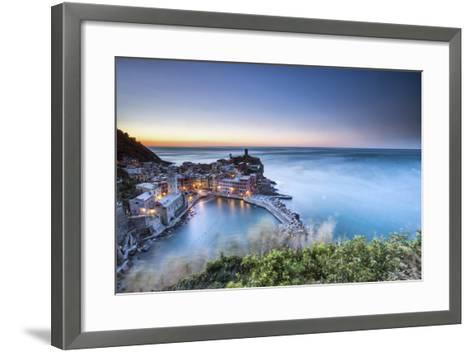 Vernazza and its Harbor in a Winter Night, Cinque Terre National Parc, Liguria-ClickAlps-Framed Art Print