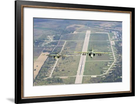 Two Bulgarian Air Force Sukhoi Su-25S Aircraft Flying over Bulgaria-Stocktrek Images-Framed Art Print