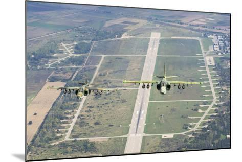 Two Bulgarian Air Force Sukhoi Su-25S Aircraft Flying over Bulgaria-Stocktrek Images-Mounted Photographic Print