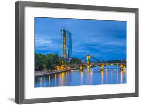 Germany, Hessen, Frankfurt Am Main, Ostend, River Main, New European Central Bank Building-Alan Copson-Framed Art Print