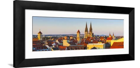 Elevated View Towards St. Peter's Cathedral Illuminated at Sunset, Regensburg, Upper Palatinate-Doug Pearson-Framed Art Print