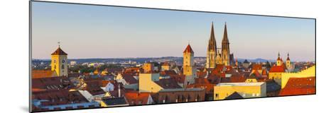 Elevated View Towards St. Peter's Cathedral Illuminated at Sunset, Regensburg, Upper Palatinate-Doug Pearson-Mounted Photographic Print