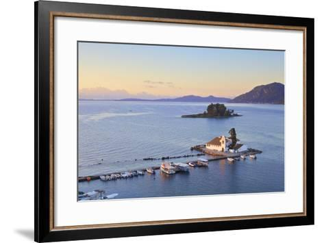 Elevated View to Vlacherna Monastery and the Church of Pantokrator on Mouse Island, Kanoni-Neil Farrin-Framed Art Print