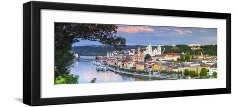 Elevated View Towards the Picturesque City of Passau at Sunset, Passau, Lower Bavaria-Doug Pearson-Framed Art Print