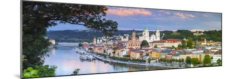 Elevated View Towards the Picturesque City of Passau at Sunset, Passau, Lower Bavaria-Doug Pearson-Mounted Photographic Print