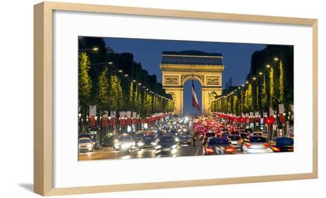 View Down the Champs Elysees to the Arc De Triomphe, Illuminated at Dusk, Paris, France-Gavin Hellier-Framed Art Print