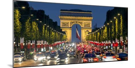 View Down the Champs Elysees to the Arc De Triomphe, Illuminated at Dusk, Paris, France-Gavin Hellier-Mounted Photographic Print