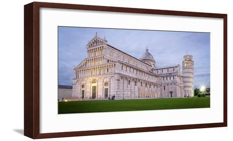 Pisa, Campo Dei Miracoli, Tuscany. Cathedral and Leaning Tower at Dusk, Long Exposure-Francesco Riccardo Iacomino-Framed Art Print
