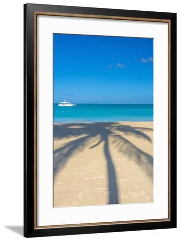 Antigua, Jolly Bay Beach, Palm Trees Casting Shadows-Alan Copson-Framed Art Print