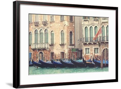 Parked Gondolas Along the Grand Canal of Venice, Veneto, Venice District, Italy-ClickAlps-Framed Art Print