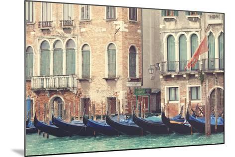 Parked Gondolas Along the Grand Canal of Venice, Veneto, Venice District, Italy-ClickAlps-Mounted Photographic Print