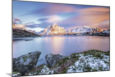 The Pink Sky at Sunrise Illuminates Reine Village. Lofoten Islands Northern Norway Europe-ClickAlps-Mounted Photographic Print