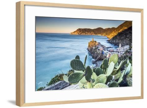 The First Light of Dawn on the Famous Tower of the Village of Vernazza. Cinque Terre National Park-ClickAlps-Framed Art Print